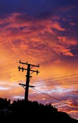 Sunrise and electriticy wires, Wanaka, New Zealand