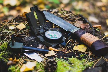 Knife and flint on the stump in the forest. Camping in nature. Survival in the wild.