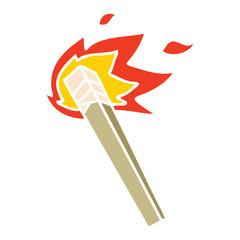 quirky hand drawn cartoon lit torch