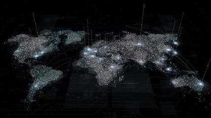 Futuristic global broadband internet communication between cities around the world with matrix particles continent map for head up display background