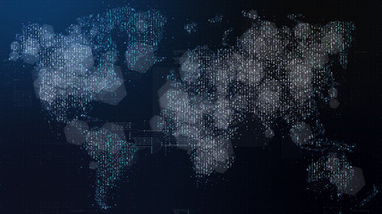 Wall Mural - Futuristic global broadband internet communication between cities around the world with matrix particles continent map for head up display background
