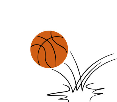 basketball ball bouncing. isolated on white background. illustration