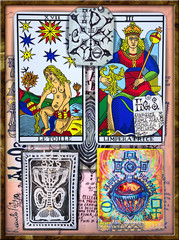 Photo sur Plexiglas Imagination Alchemy and tarot's. Manuscripts, sketches, graffiti and alchemical, astrological, esoteric, ethnical drawings, with symbols, tarots, and chemical and magical formulas