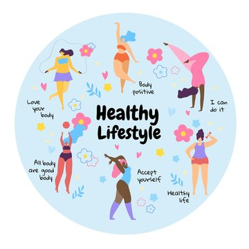Body Positive Overweight Girls Healthy Lifestyle.