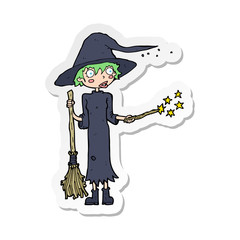 Foto op Aluminium Art Studio sticker of a cartoon witch casting spell