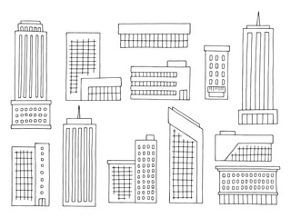 House set graphic black white isolated building sketch illustration vector