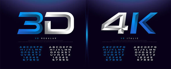 Elegant Silver And Blue 3D Metal Chrome Alphabet And Number Font. Typography technology, digital, movie logo fonts design. vector illustration
