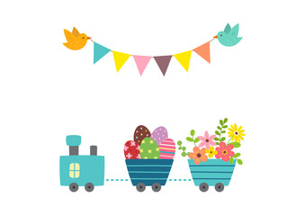 Cute train carrying Easter eggs and flowers