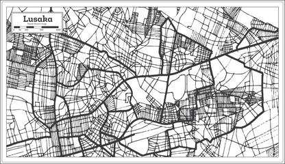 Lusaka Zambia City Map in Retro Style. Outline Map.