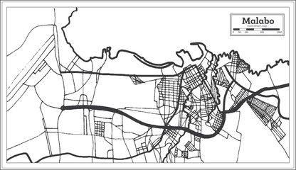 Malabo Equatorial Guinea City Map in Retro Style. Outline Map.