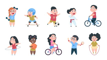 Cartoon sport kids. Boys and girls playing ball, group of children ride on bike, do active physical exercises. Vector playing kids set