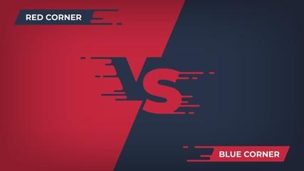 Versus background. Sport competition VS poster, game fight battle duel concept, blue red team design. Vector versus comparison flat poster