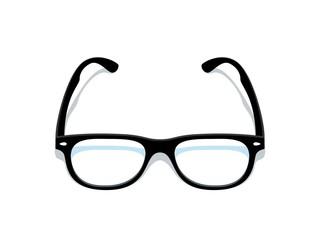 Black glasses. Eyeglasses frame silhouette, black elegant retro spectacles with transparent glass. Vector art modern isometric glasses