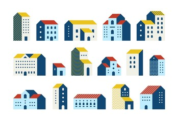 Minimal flat houses. Simple geometric buildings cartoon set, urban city town houses graphic set. Vector minimal house exteriors