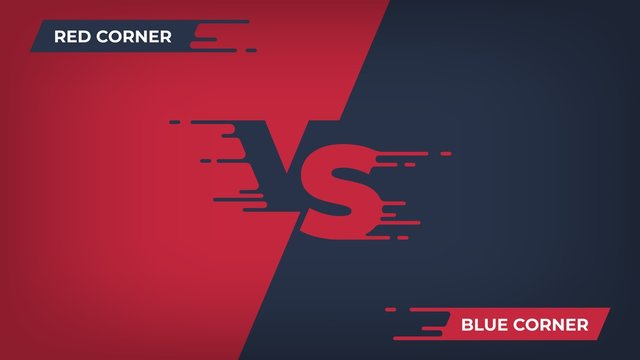 Versus background. Sport competition VS poster, game fight battle duel concept, blue red team design. Vector versus comparison flat poster