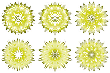Set of Ornamental Round Lace. Sacred Oriental Mandala. Color Floral Ornament. Modern Decorative Vector Illustraation. Yellow olive color