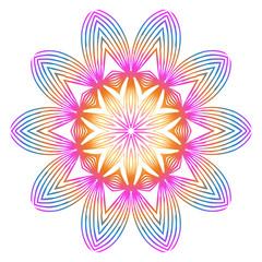 Floral Color Mandala. Arabic, Indian, Motifs. Vector Illustration. Rainbow color