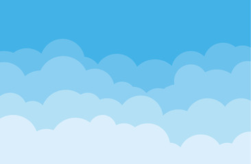 Sky and clouds vector cloudy cartoon isolated on blue background