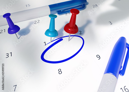 Concept Image Of Calendar With Red Teal Blue Pin And Blue Pens And