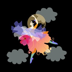 Black-haired girl wearing skirt that looks like an autumn leaf, with fan in the form of flower and shawl in the shape of flying bird, is dancing flamenco in the night sky opposite the moon and clouds.