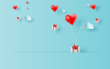 3D Paper art and craft style of red balloons heart gift floating in sky with landscape cloudscape view shadow scene place for your text space in travel holiday concept.Blue color pastel.vector.