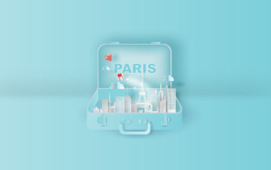 Paper art of Traveling holiday hotel booking Eiffel tower Paris city,Website Travel landmarks city pastel color suitcase concept your text space background,Illustration of idea design vacation.vector.