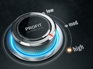 Obraz High Profit level concept - Profit level control button on high position. 3d rendering - fototapety do salonu