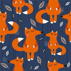 Happy foxes, leaves, hand drawn backdrop. Colorful seamless pattern with animals. Decorative cute wallpaper, good for printing. Overlapping background vector. Design illustration