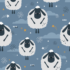 Sleeping sheeps, hand drawn backdrop. Colorful seamless pattern with animals, stars, clouds. Decorative cute wallpaper, good for printing. Overlapping colored background vector. Design illustration