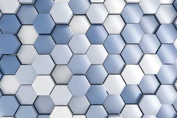 3d rendering, blue hexagon pillar