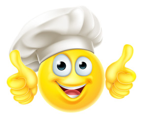 An Emoji Chef Cook Cartoon character giving a double thumbs up