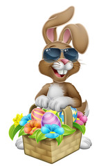 Easter bunny rabbit cartoon character in cool sunglasses or shades with a basket on an Easter egg hunt