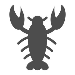 Crayfish solid icon. Crawfish vector illustration isolated on white. Seafood glyph style design, designed for web and app. Eps 10.