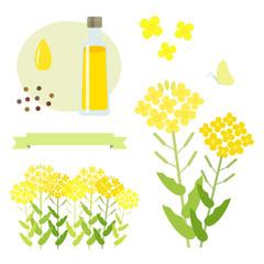 菜の花 イラストセット / vector eps 10