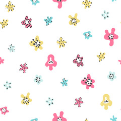Cute seamless background with flowers. Design for fabric. Hand drawn cute seamless pattern.