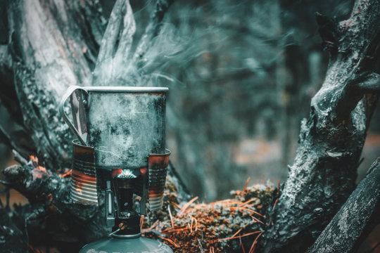 Coffee prepared on a gas burner.