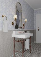 3D Rendering Vintage Bathroom