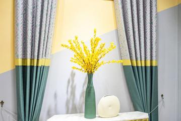 Interior curtain fabric and floral design