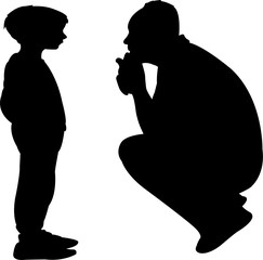 father and son talking, silhouette vector