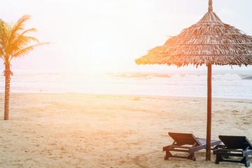 Bac My An Beach at sunrise sun umbrella and beautiful sand beach