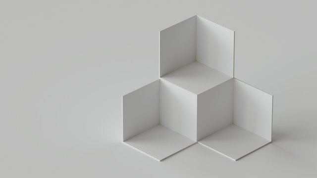 White cube boxes backdrop display on white background. 3D rendering.