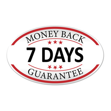 money back guarantee 7 days paper web lable badge isolated