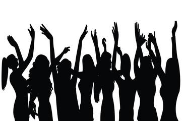 women dancing bodies silhouette vector