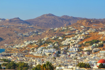 view of the old city on the island of Mykonos, Greece