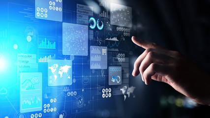 Business intelligence analyst dashboard on virtual screen. Big data Graphs Charts. Wall mural