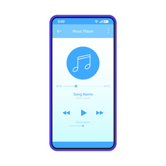 Music player app interface vector color template