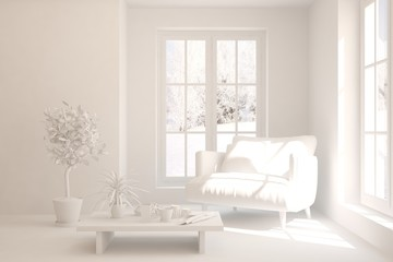 White stylish minimalist room with armchair and winter landscape in window. Scandinavian interior design. 3D illustration