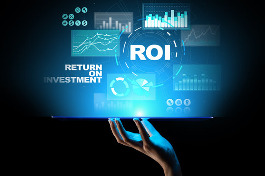 ROI - Return on investment, Trading and financial growth concept on virtual screen.
