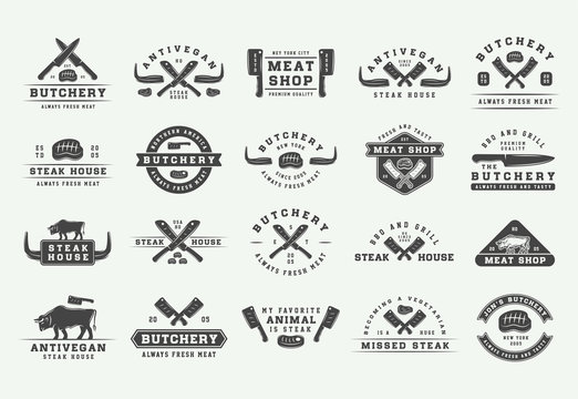 Set of vintage butchery meat, steak or bbq logos, emblems, badges, labels. Graphic Art. Illustration. Vector