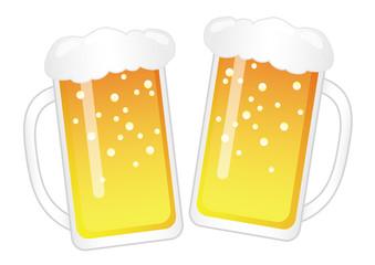 乾杯! ビールジョッキのイラスト